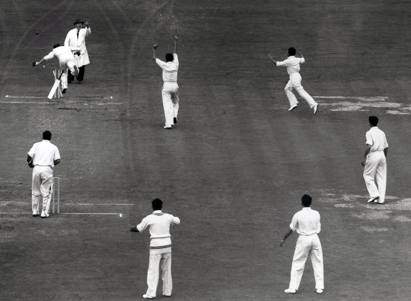 The direct hit that sealed the victory Pak vs Eng at The Oval 1954
