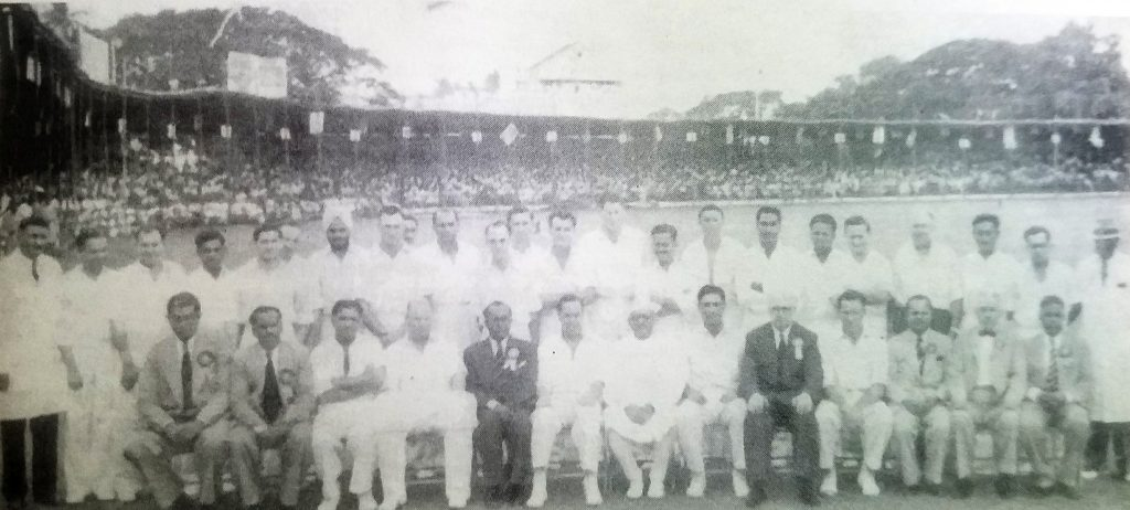 India vs Australia at Madras Test in 1956, when Gupte standing ninth from Right