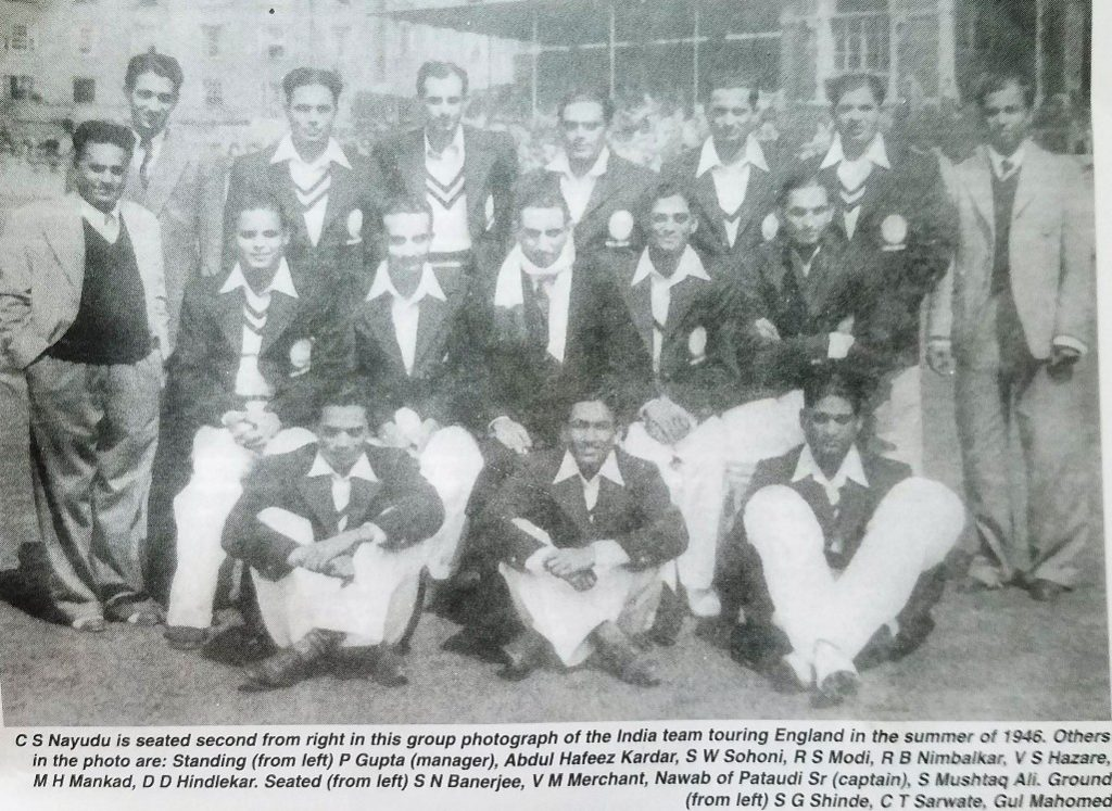 CS Nayudu among the Indian Team Tour of England in 1946
