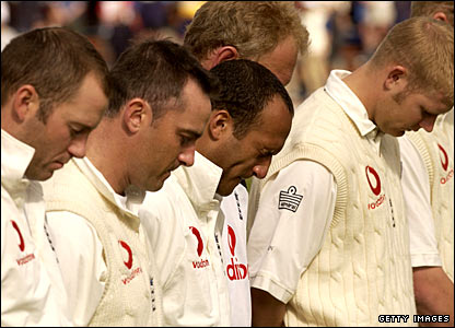 England Team Silent in the Test Against New Zealand in Wellington on the morning of March 23, 2002.