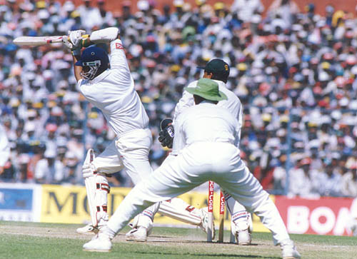 Saddagopan Ramesh drives to the covers, India v Pakistan, Asia Test Championship, Eden Gardens, Calcutta 1999