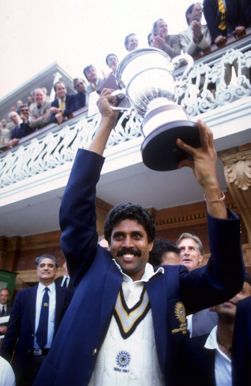 Kapil Dev lifts the World Cup after India's win, June 25, 1983