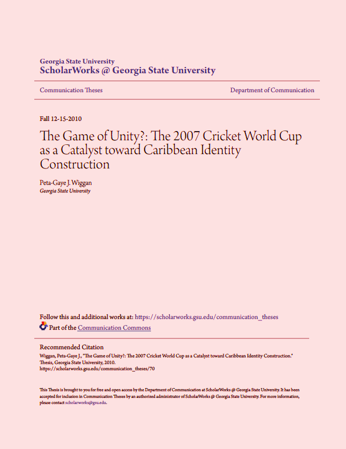 The 2007 World Cup as a Catalyst Toward Caribbean Identity Construction