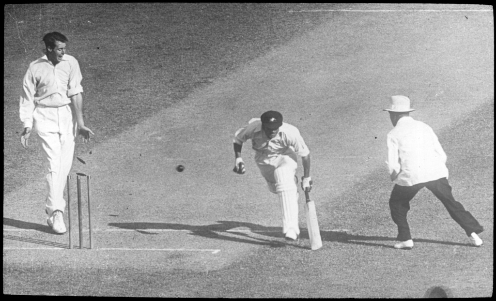 Don Bradman is almost run out at 101 in his innings of 169
