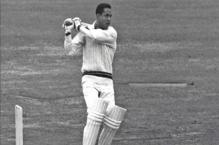 West Indies great Sir Garry Sobers minimal foot movement, great follow-through, the ball ricocheting off the boundary boards as not a man moved.
