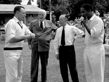 Image of former Australian prime minister Sir Robert Menzies, former Australian cricketers Ray Lindwall and Lindsay Hassett, and former West Indies cricketer Sir Frank Worrell, taken in Canberra in 1961. Courtesy of the National Archive of Australia