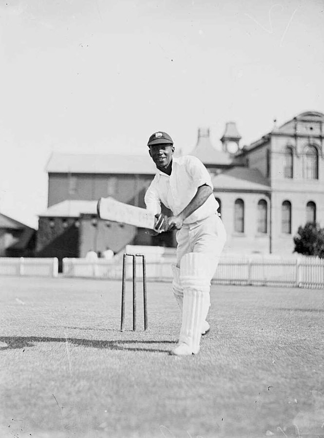 George Headley demonstrating his batting technique during the West Indian cricket team's 1930–31 tour of Australia.