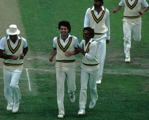 Imran Khan Pakistan celebrates after forcing England to follow-on in the 2nd Test of the 1982 series. Pakistan won the Test – its first against England in England since 1954!