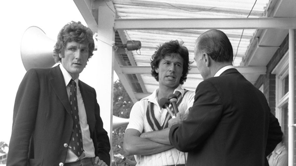Imran Khan being interviewed with England captain, Bob Willis, at the end of the 1982 series.