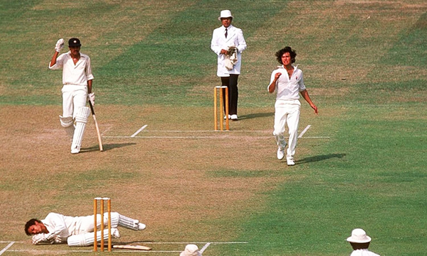 Imran Khan downs India's Mohindar Amarnath in Lahore during the 1978 Pak-India series.