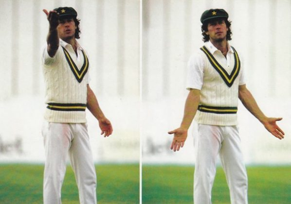 Imran Khan is not amused by a fielder during Pakistan's 1987 tour of England. Pakistan won the series. It's first ever against England in England.