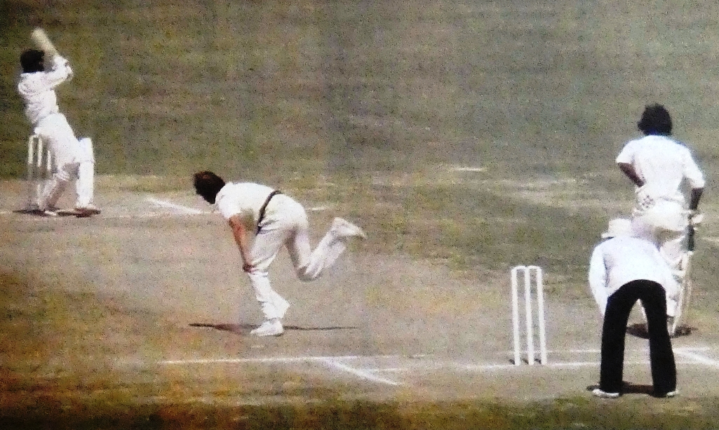 This is memorable picture of depicts the great Australian fast Bowler Denis Lillee on the receiving end, had a torrid time at Iqbal Stadium Faisalabad.