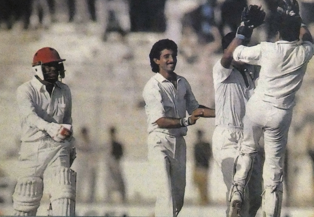 Its congratulation and celebration for Waqar Younis, with an amazing burst of speed and venom, trounced the WIndies when they visited Pakistan in 1990-91.