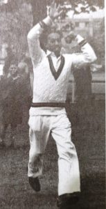 Left Arm Spinner Alf Valentine must have drained quite a few bottles of the surgical spirit that he applied to his sore spinning finger after a long spell.
