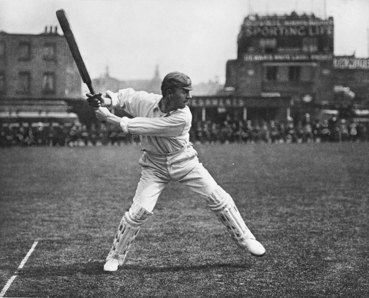 Jumping out for a straight drive George Beldam, c. 1905 – arguably the most famous photograph in the history of cricket
