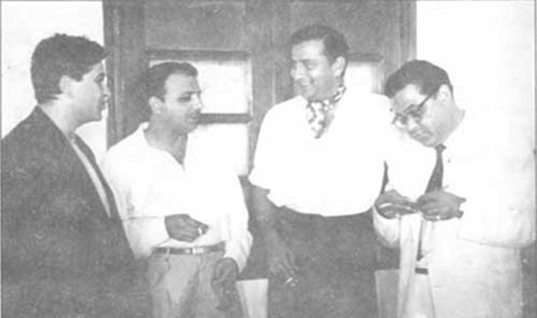 Fazal at a party in Bombay with Indian film star, Raj Kapoor (left). During the 1960-61 series, players from both the teams were more active off the field than on it.