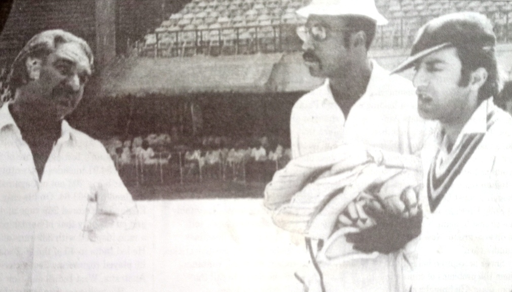 Indian Captain Mansoor Ali Khan Pataudi with Ramchand and Clive Lloyd during the 1974-75 series against West Indies.