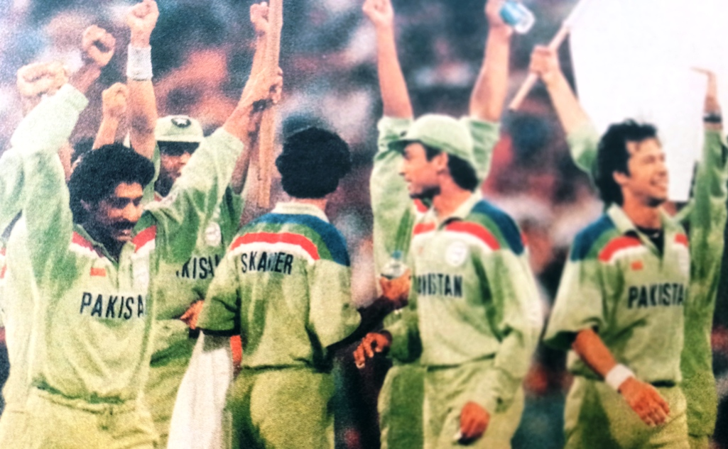 The picture shows the exultant players joining their skipper Imran Khan in acknowledging the applause from the spectators after winning the World Cup 1992.