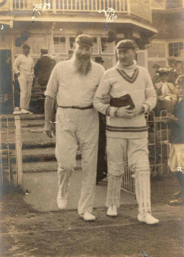 WG Grace and wicketkeeper, Charles Robson heading out from the Dean Park, Bournemouth pavilion on the first day of the game between Gentlemen of the South and Players of the South on September 3rd 1904. GRace made 8 and 0 in a drawn match