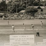 Don Bradman's first-class career as he is bowled for 30 in South Australia's first innings against Victoria at Adelaide on March 5th 1949. He survived a confident appeal for caught behind before chopping Bill Johnston into his stumps
