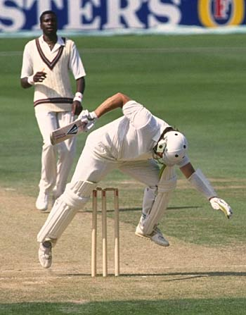 Curtly Ambrose couldn't quite get his leg over England v West Indies, 5th Test, The Oval, August