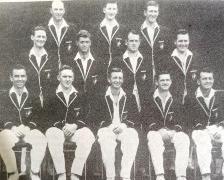 Australian Side who faced England in 1962-63 (Back Row Left to Right) Peter Burge, Bill Lawry, Graham McKenzie, (Centre Row Left to Right) Brian Booth, Barry Shepherd, Norman O'Neil, Barry Jarman, (Front Row Left to Right) Bob Simpson, Alan Davidson, Richie Benaud (Captain), Neil Harvey, (Vice Captain), Ken Mackav.
