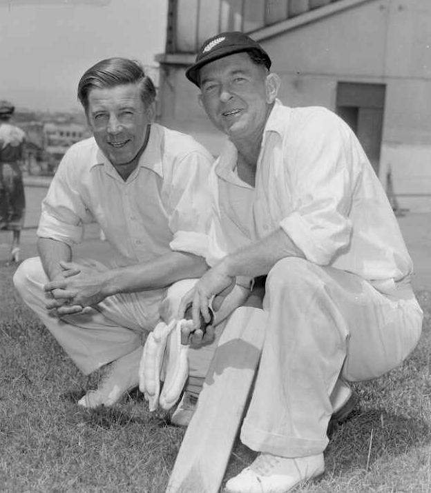The cricketers M P Donnelly and Merv Wallace in 1956