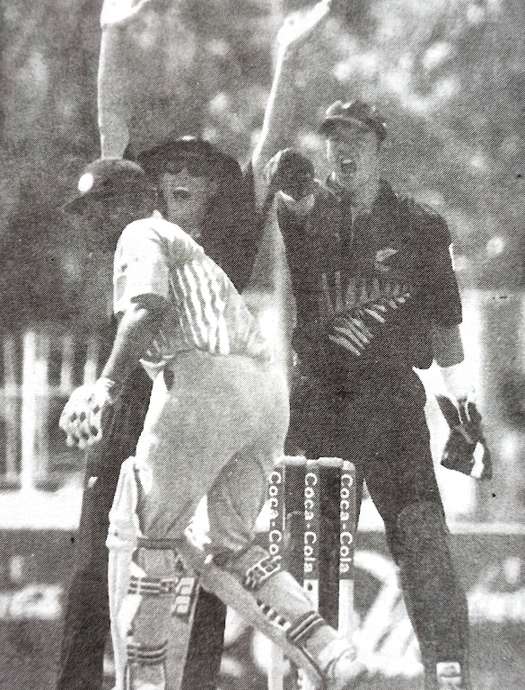 Virender Sehwag survied an LBW appeal in the Coca-Cola Cup Triangular Series 2001 against New Zealand