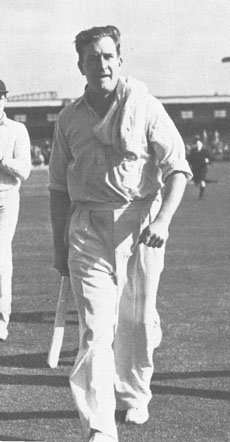 Jim Laker leaves the field after taking 19 for 90 at Old Trafford in 1956.