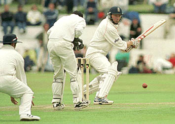 Mike Atherton plays a late cut, County Championship, Lancashire v Glamorgan, 14-17 July 1999