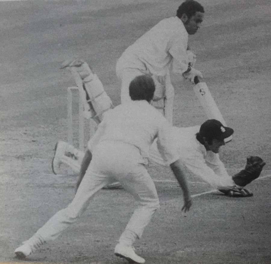 Alan Knott pulls of a superb catch from Derek Underwood's bowling to dismiss Dilip Sardesai for 40 at the Oval in 1971
