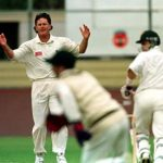 Brian McMillan's hands go up as a half chance goes to ground .. during the first day of the match against Tasmania in Devonport, Tasmania, Saturday December 13th 1997 Photographed by Colin Whelan © Action Photographics