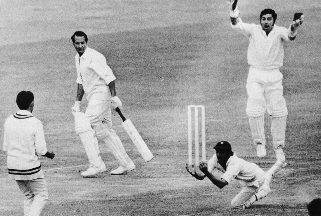 A typically brilliant Solkar catch: Basil D'Oliveira the victim at Lord's, 1971