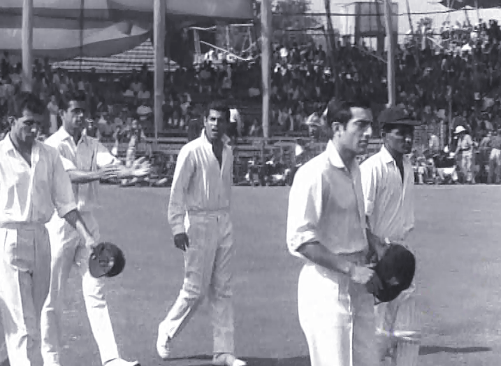 Mansoor Ali Khan Pataudi leads the Indian team out, Calcutta, 1966. Others in the pic are Surti, Subramanya, Jaisimha and Kunderan.